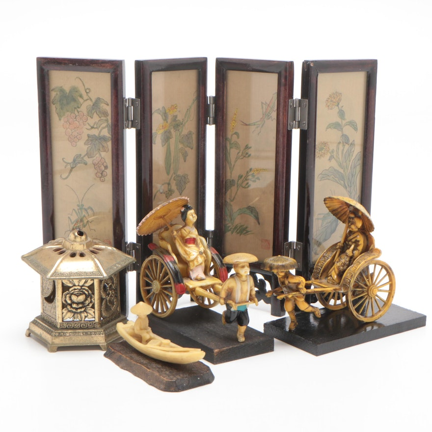 Japanese Resin Figurines with Brass Censer and Chinese Folding Table Screen
