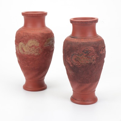 Japanese Tokoname Redware Vases, Early 20th Century