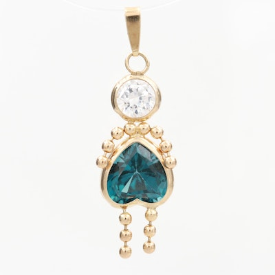 14K Yellow Gold Cubic Zirconia and Synthetic Spinel Child's Birthstone Charm