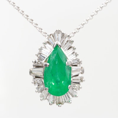 14K White Gold 3.26 CT Emerald and 1.75 CTW Diamond Pendant Necklace