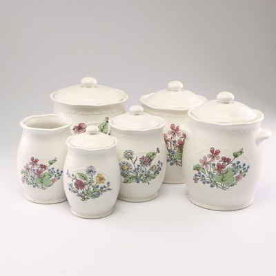 Vermillion Ceramic Lidded Canisters, Mid to Late 20th Century