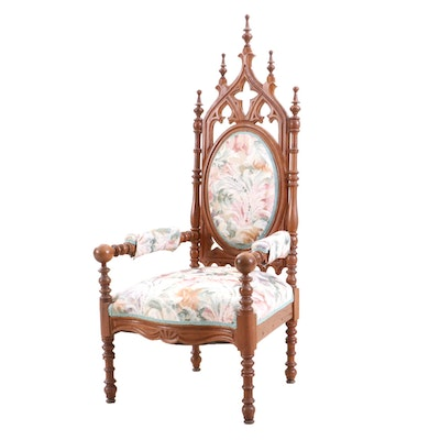 Gothic Revival Style Walnut Upholstered Armchair, Mid-19th Century