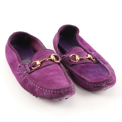 Gucci Horsebit Violet Suede Driving Loafers
