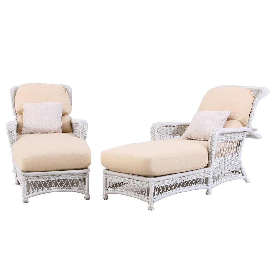 White Wicker Lounge Chairs, Pair