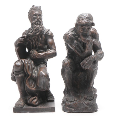 """Marwal Chalkware Figures Featuring """"The Thinker"""" After Rodin, Mid-Century"""
