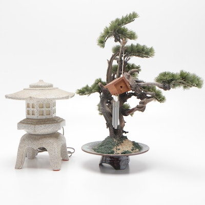 Japanese Ucagco Ceramic Accent Lamp with Faux Bonsai Tree
