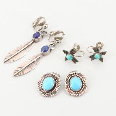Assortment of Southwestern Style Sterling Lapis Lazuli and Turquoise Earrings