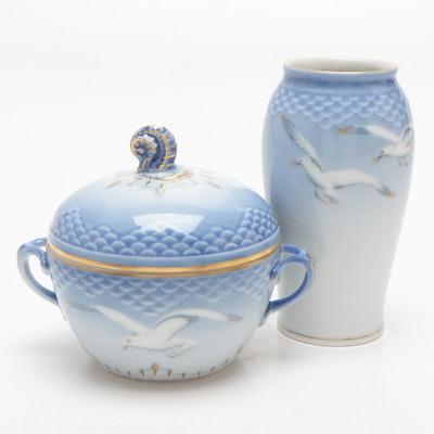 """Bing & Grøndahl """"Seagull"""" Porcelain Vase and Lidded Sugar Bowl"""
