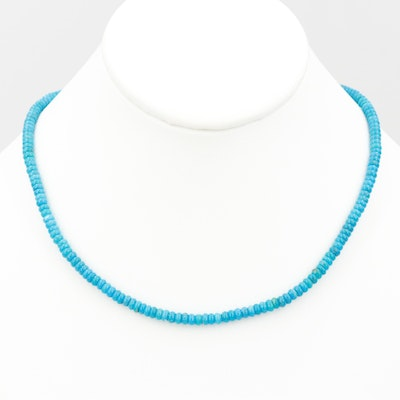 14K Yellow Gold Turquoise Bead Necklace