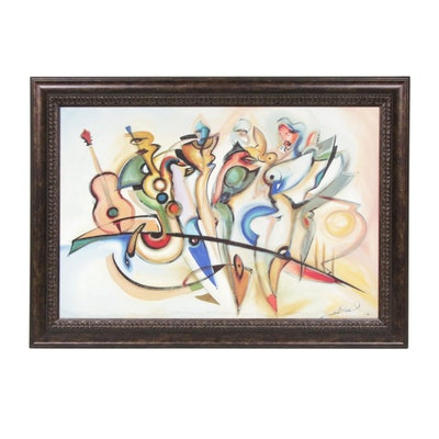 Abstract Expressionist Style Jazz Scene Oil Painting