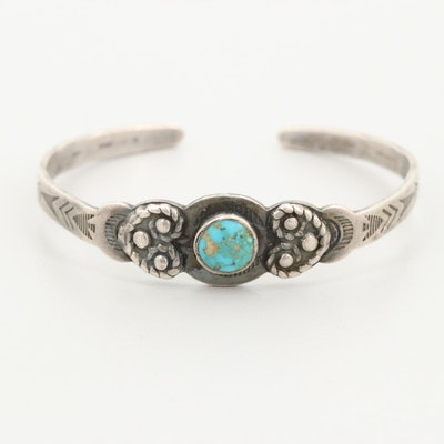 Southwestern Style Sterling Silver Turquoise Infant Bracelet