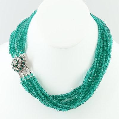 Circa 1964 Christian Dior Multi-Strand Necklace with Rhinestone Accents