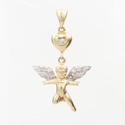 14K Yellow Gold Diamond Tinkerbell Heart Pendant