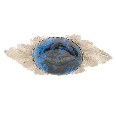 Silver Tone Azurite Leaf Motif Brooch