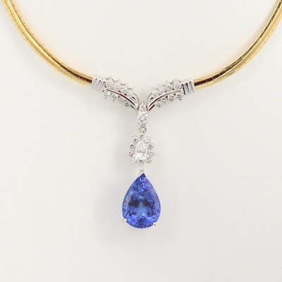 14K Yellow Gold 13.62 CT Tanzanite and 2.21 CTW Diamond Drop Pendant Necklace