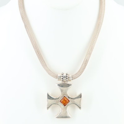 Sterling Silver Amber Maltese Cross Necklace