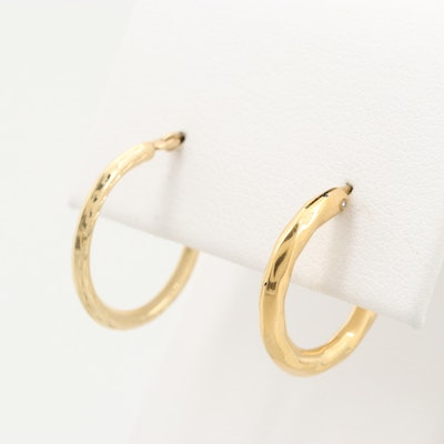 Gold Tone Hoop Earrings with 14K Yellow Gold Hinged Wire