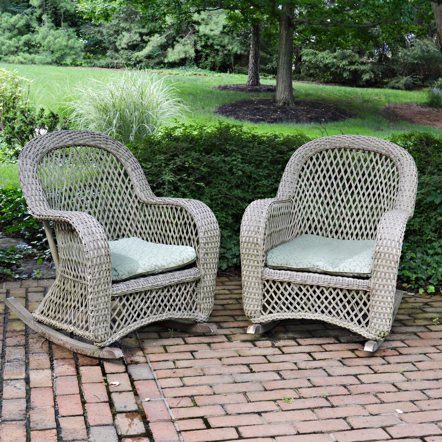 Smith & Hawken Outdoor Rattan Rocking Chairs, Contemporary