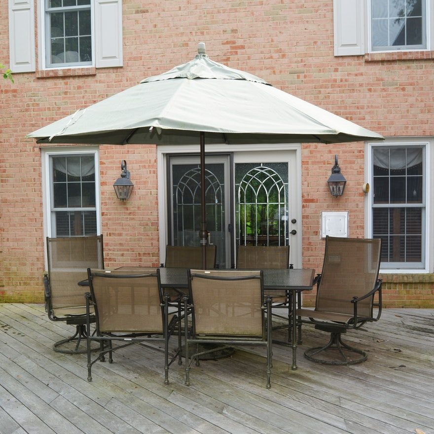 Brown Jordan Patio Dining Set with Treasure Garden Umbrella, Contemporary