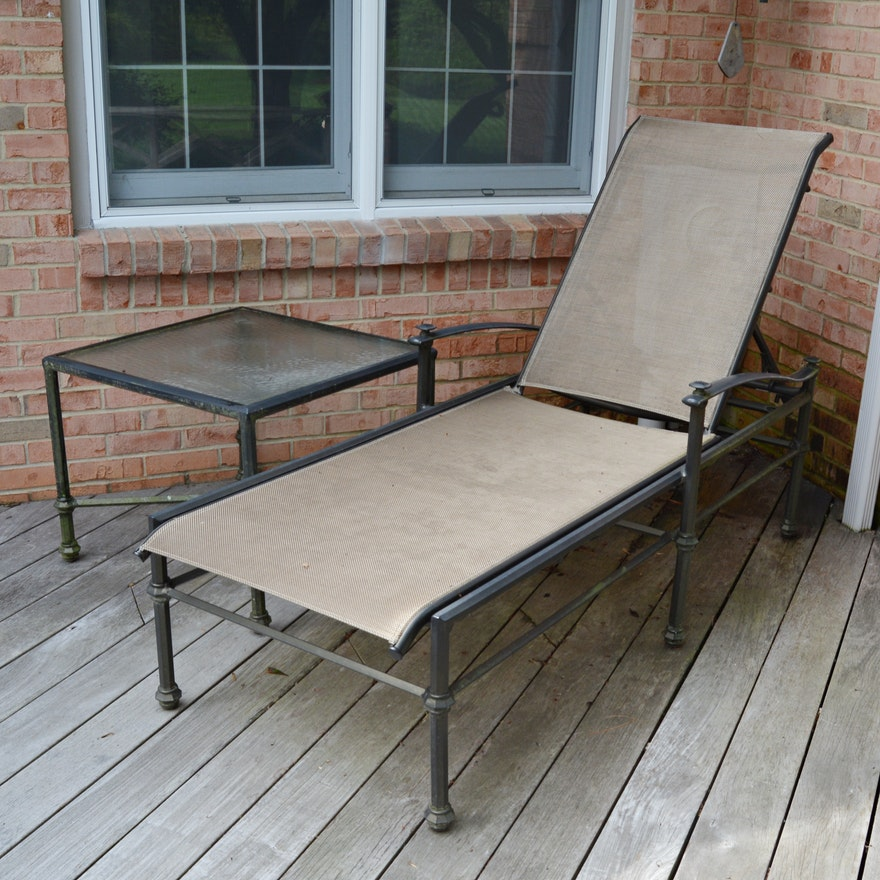 Brown Jordan Patio Chaise Lounge with Side Table, Contemporary