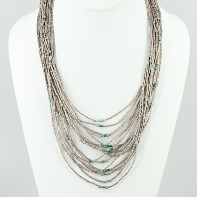 Southwestern Style Liquid Silver Necklace with Turquoise Accents