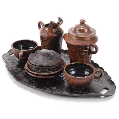 Incised Earthenware & Tooled Leather Tea for Two