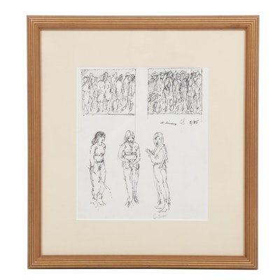 "Clyde J. Singer Ink Drawing ""3 Girls"""