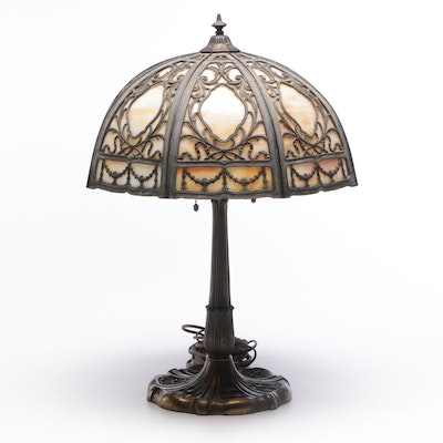 Miller Art Nouveau Cast Bronze Lamp with Overlay Slag Glass Shade, Antique