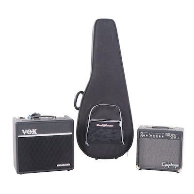 Epiphone and Vox Amplifiers with Guitar Case