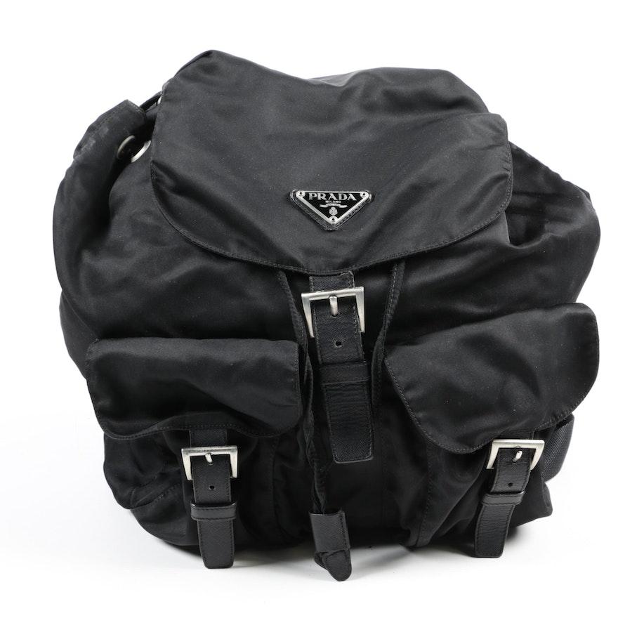 a8ae4702d Prada Black Nylon and Saffiano Leather Backpack Purse   EBTH