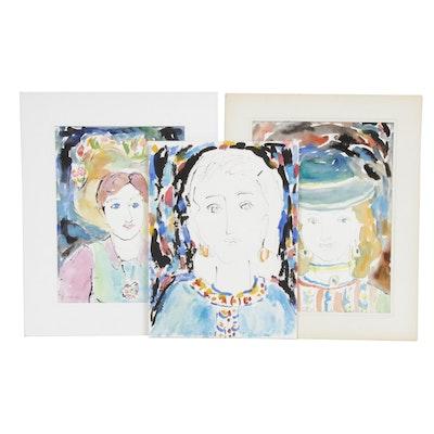 Yolanda Fusco Female Portrait Watercolor Paintings