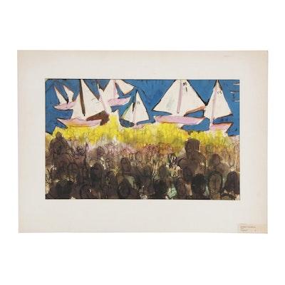 "Robert Kilbride Watercolor Painting ""Regatta"""