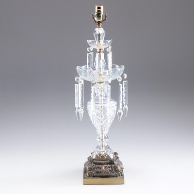 Pressed Glass and Crystal Table Lamp, Early to Mid 20th Century