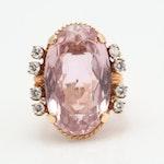 14K Yellow Gold Kunzite and Diamond Ring, 17.50 CT Kunzite