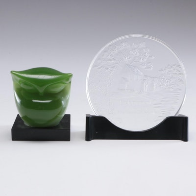 "Mid Century Modern Italian ""Wony"" Lucite Owl and Hallmark Glass Plate"