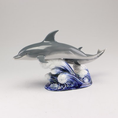 """Lladro """"A Swimming Lesson"""" Porcelain Dolphin Figurine"""