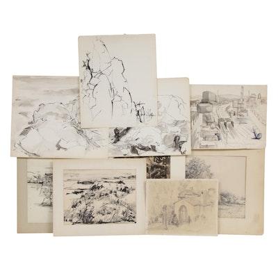 Landscape Ink Drawings Including Yolanda Fusco