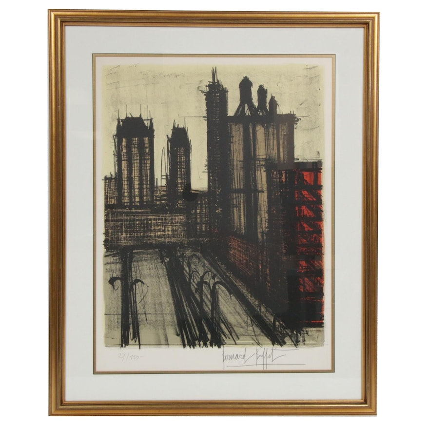 "Bernard Buffet Lithograph ""New York V"""