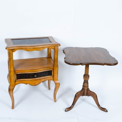 Cherry and Walnut Stained Victorian and French Provincial Style Side Tables