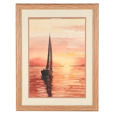 Sunset Seascape Watercolor Painting