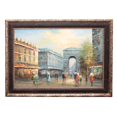 C. Ranflin Oil Painting of Street Scene