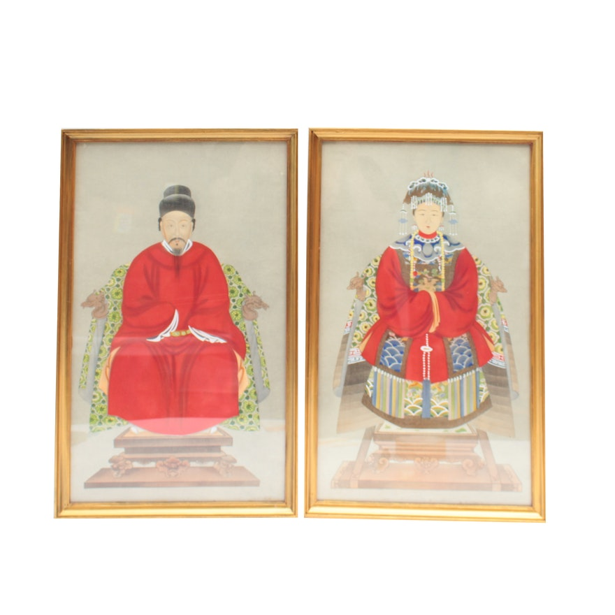Chinese Gouache Embellished Collotype Portraits