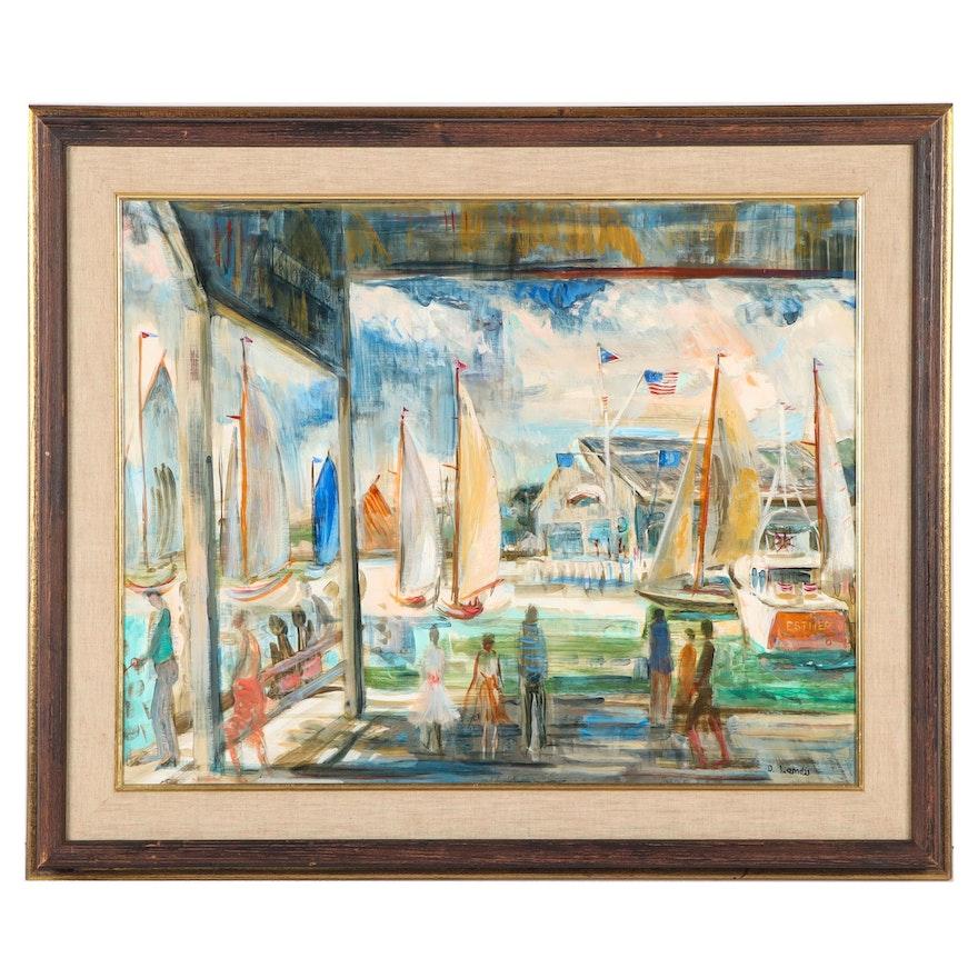 David Merkel Landis Harbor Scene Oil Painting