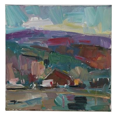 """Jose Trujillo 2019 Oil Painting """"The Farm House"""""""