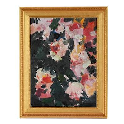 """Jose Trujillo Oil Painting """"Pink Rose Garden"""""""
