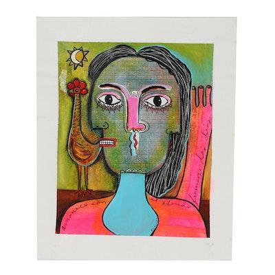 """Michel Blázquez Abstract Acrylic Painting """"amanecer con el olvido"""""""
