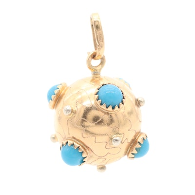 18K Yellow Gold Orb Pendant with Turquoise Accents