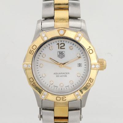 TAG Heuer Aquaracer 18K Gold, Stainless Steel and Diamond Wristwatch