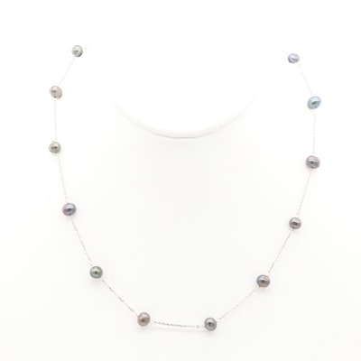 14K White Gold Cultured Pearl Station Necklace