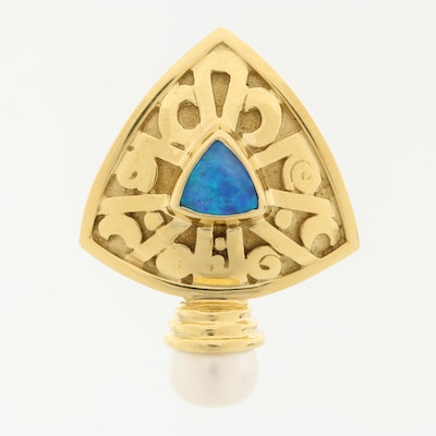 18K Yellow Gold Opal and Cultured Pearl Enhancer Pendant